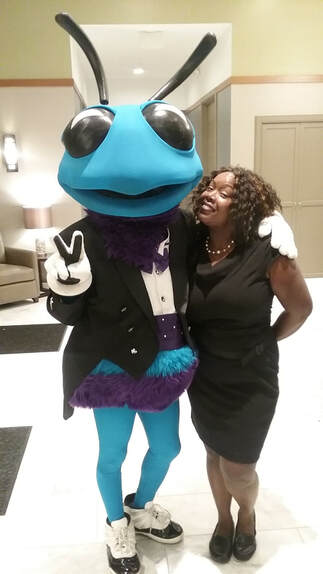 Ivy Posing with Hugo the Hornet